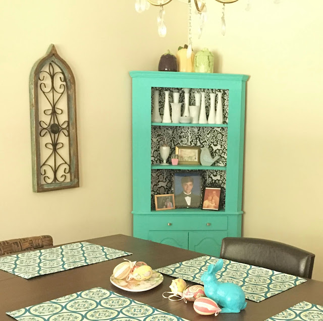 Update your cabinets with peel and stick wallpaper!