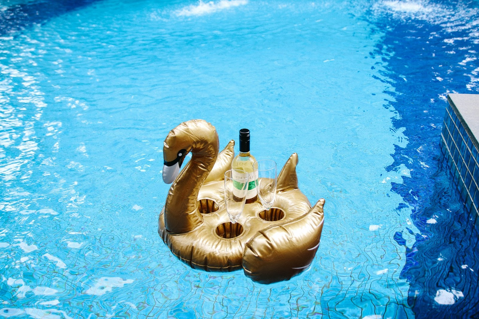 Gold Swan Floatie Drink Holder to hold our wine | GlobalFashionGal by Brianna Degaston