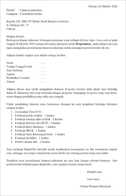 Contoh Application Letter Programmer (Fresh Graduate) Berdasarkan Informasi Dari Website