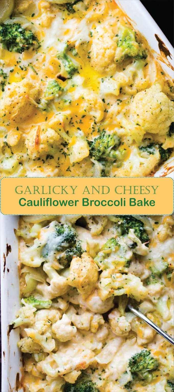 Garlicky and Cheesy Cauliflower Broccoli Bake