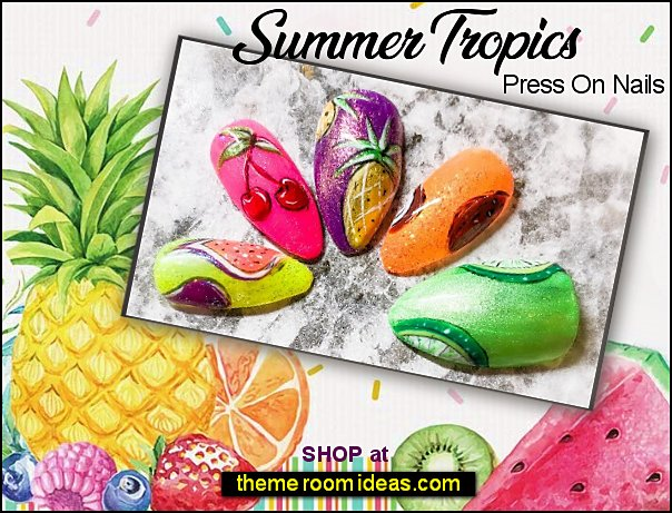 Summer Tropics Press On Nails  fruit nails fruity nails false fruit nail design tropical fruit summer fruit fresh fruits nail art