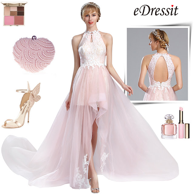 eDressit Light Pink Halter Lace Prom Mermaid Homecoming Dress
