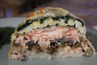 salmon wellington con espinaca y champiñones