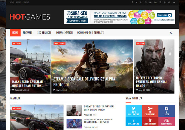 Hot Games Gaming mobile friendly blogger template