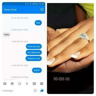Susan Israel's engagement ring and the facebook message