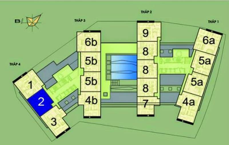 Vị trí căn hộ CH2 - 152m2 trên mặt bằng căn hộ Dolphin Plaza