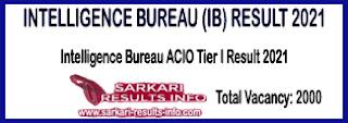 ib acio result, intelligence bureau result, acio tier I result