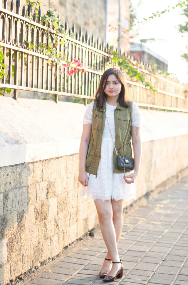 Utility Vest and White Dress outfit