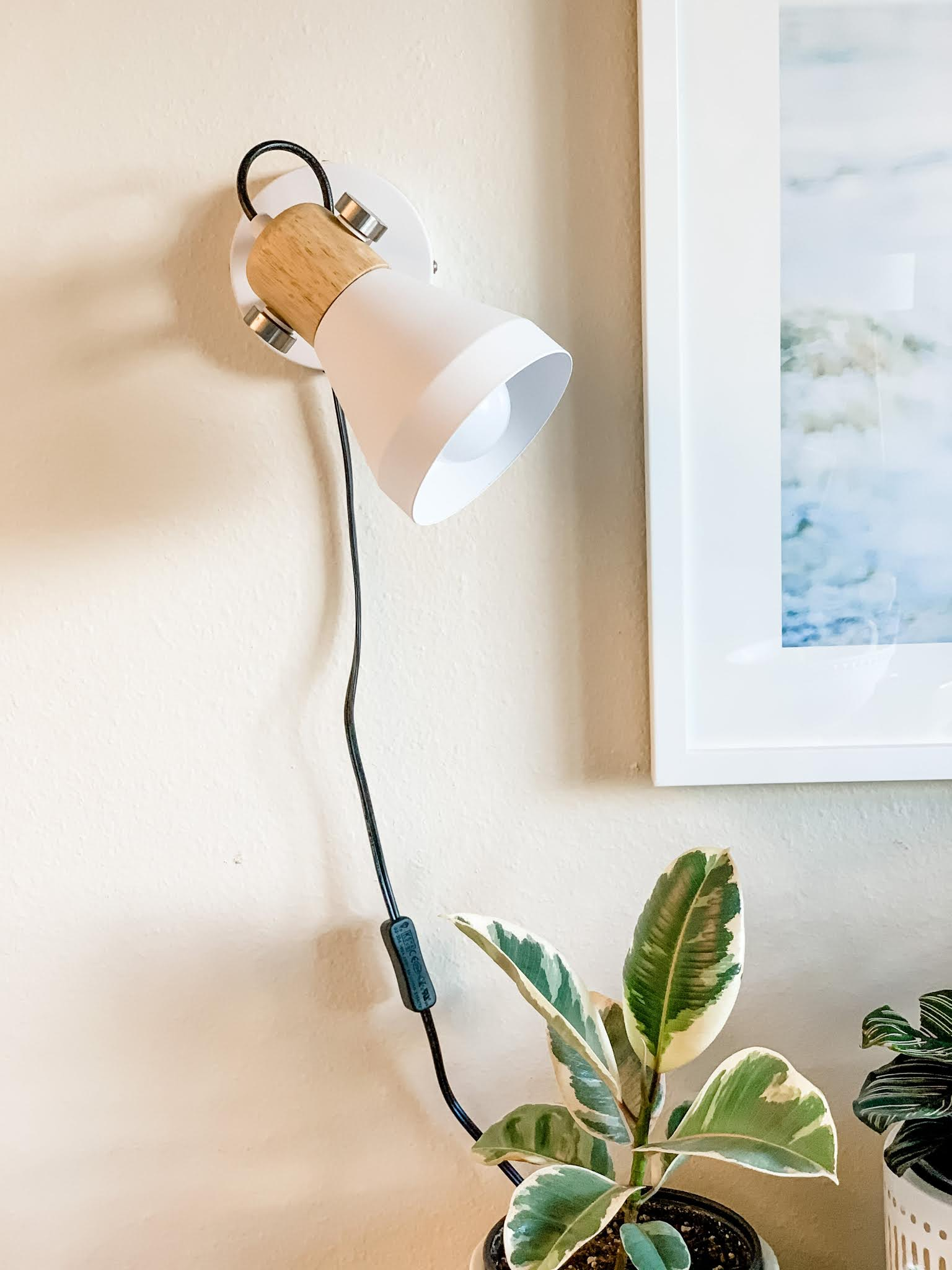 White plug-in wall sconce with indoor grow bulb