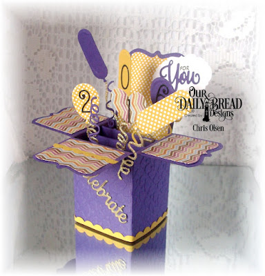 Our Daily Bread Designs, You Bless Me So, Surprise Box Die, Balloons and Streamers, Bitty Borders, Mini Tags and Labels, Celebrate and Wish, Numbers, Birthday Brights Paper, designed by Chris Olsen