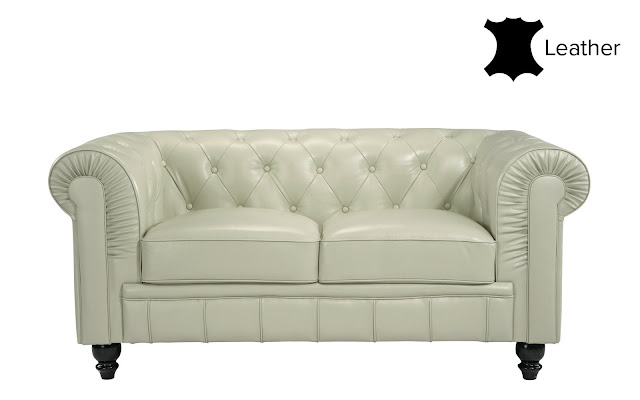 Jude Classic Victorian Leather Match Loveseat