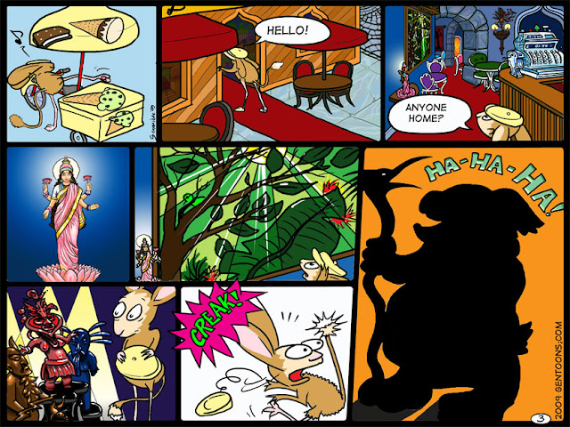 Silver Page 3: in which Miss Cranberry enters the Lakshmi cafe, and sees amazing statues and a jungle painting.  The cafe is dimly lit, and suddenly a dark figure appears in a doorway, laughing.