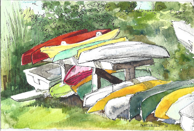 Watercolor and ink drawing of kayaks, boats, surfboards, etc on wooden rack in bright sunlight