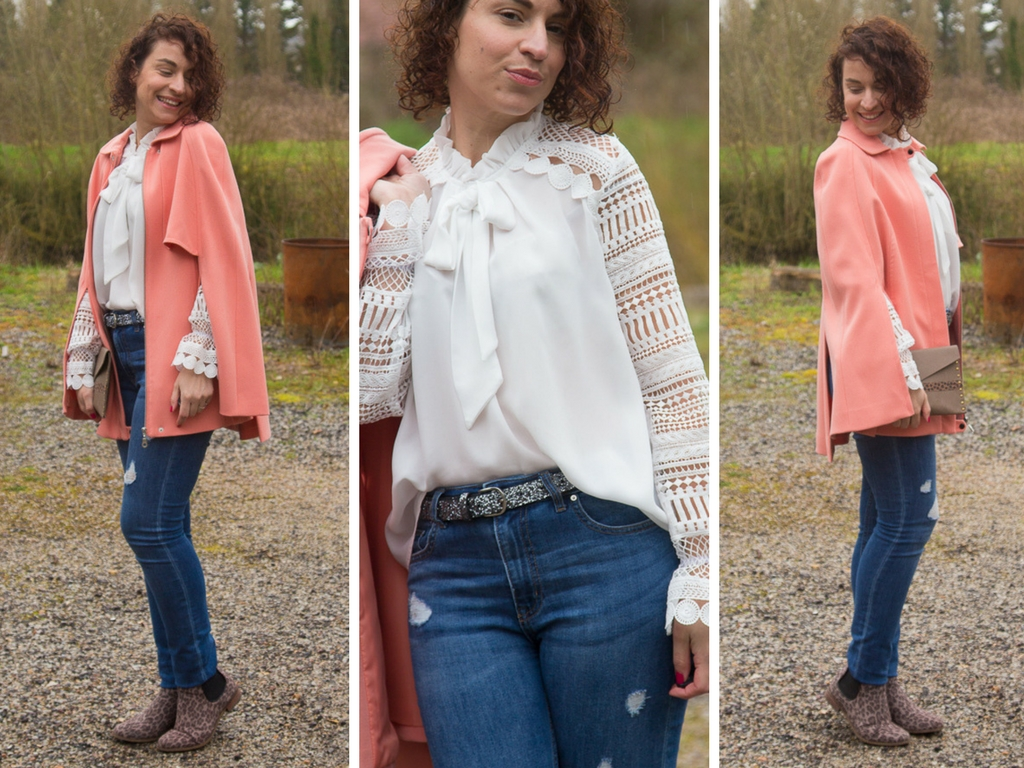 look - manteau - cape - la redoute - rose