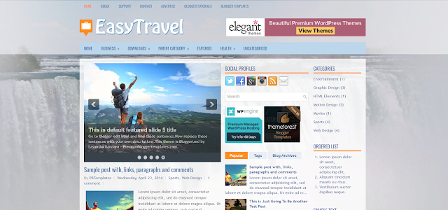 free responsive travel blogger template
