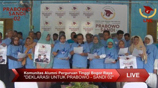 Dimotori Sejumlah Tokoh Nasional, Komunitas Alumni IPB Deklarasikan Pro Prabowo-Sandi