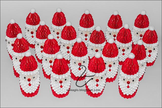 606. Mikołaje z origami / 3d origami Santa Claus