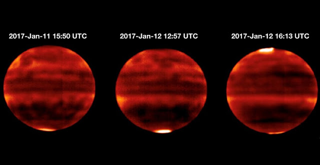 Sensitive to Jupiter's stratospheric temperatures, these infrared images were recorded by the Cooled Mid-Infrared Camera and Spectrograph (COMICS) at the Subaru Telescope on the summit of Mauna Kea, Hawaii. Areas that are more yellow and red indicate the hotter regions. Credit: NAOJ and NASA/JPL-Caltech