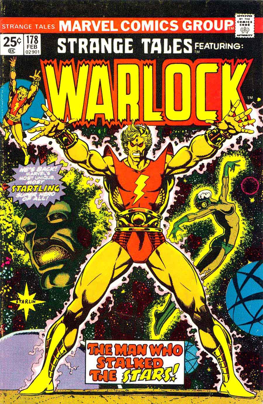 Strange Tales v1 #178 marvel warlock comic book cover art by Jim Starlin