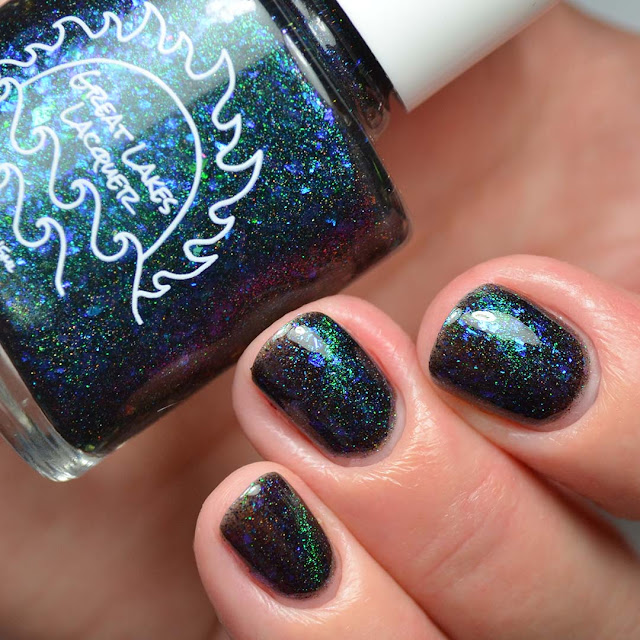 blue to purple color shifting magnetic nail polish