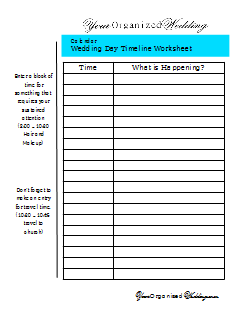 Printables Wedding Day Timeline Worksheet your organized wedding october 2013 click here to download