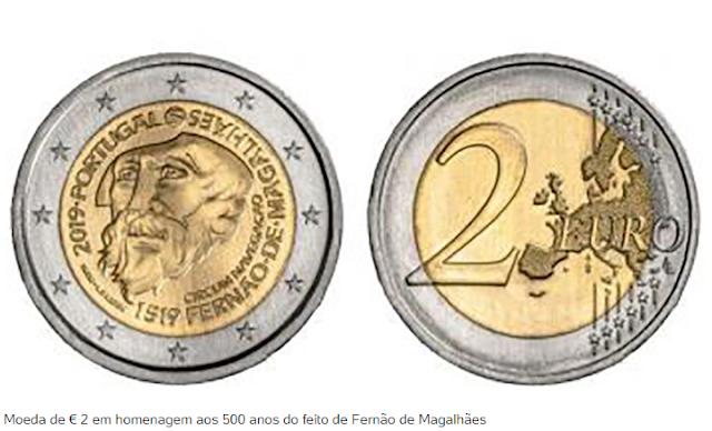 Numismática│Moeda de € 2 comemora 500 anos de volta ao mundo de Fernão de Magalhães