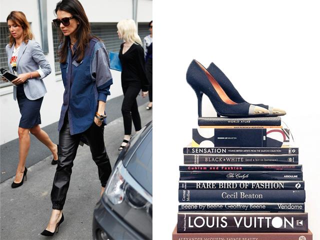 look escarpins noir + pantalon cuir + chemise jeans isabel Marant