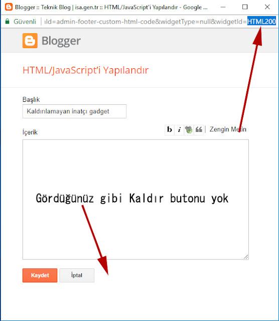 blogger silinemeyen widgeti silme