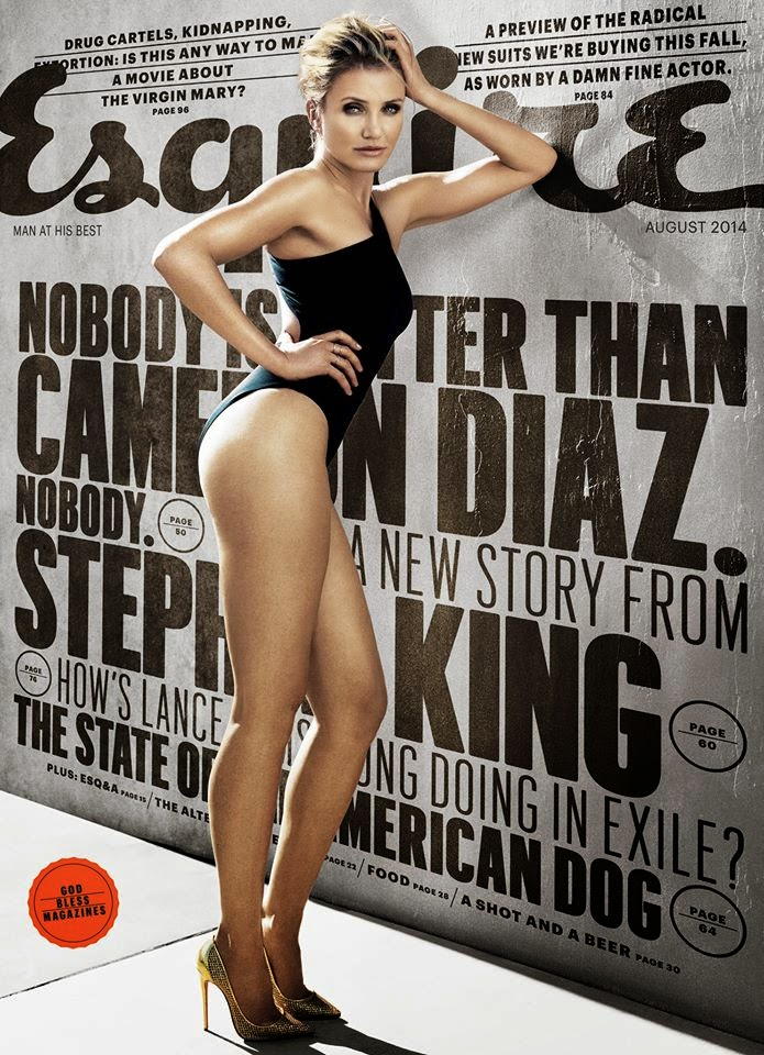 Cameron Diaz covers Esquire UK August 2014 in a black swimsuit
