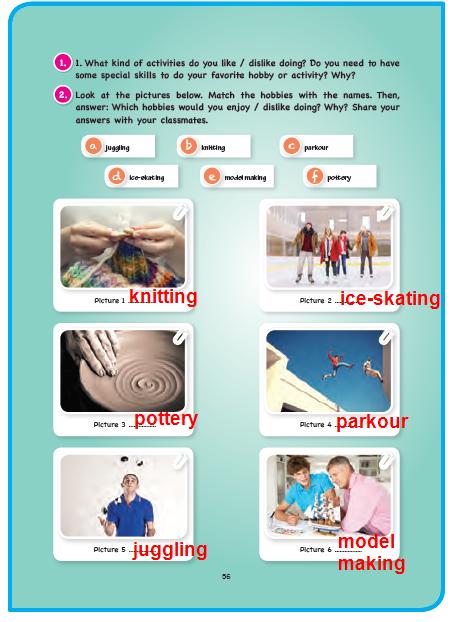 11. Sınıf Cem Veb Ofset Yayınları İngilizce Sunshine Ders Kitabı 56. Sayfa Cevapları Hobbies and Skills
