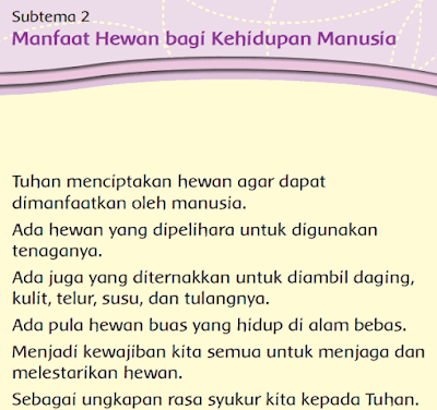 kelas 3 tema 2 Subtema 2 Manfaat Hewan bagi Kehidupan Manusia www.simplenews.me