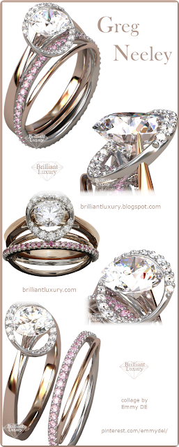 Greg Neeley Award Winning Meteor Rose Gold Diamond Ring made of 18k rose and white gold with white and pink diamonds. Center diamond is 1ct. #jewelry #brilliantluxury