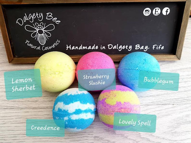 5 brightly coloured bath bombs