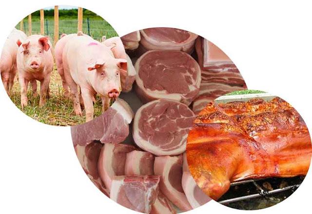 Berbeda dengan ruminansia, jika untuk ruminansia ada langkah pengulitan, maka pada hewan bukan ruminansia tahapan pengulitan ternak tidak dilakukan saat pemotongan karena lemak subkutan babi relatif banyak dan harganya mahal jika dijual sebagai daging.