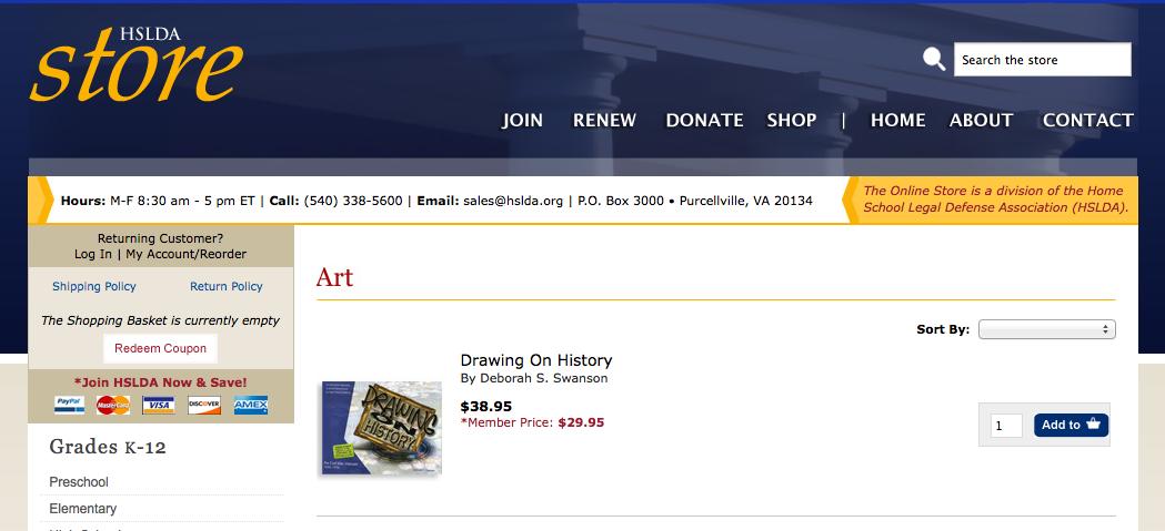 HSLDA book store - Art Curriculum - Homeschool Art lessons - Drawing on History - KnoodleU Publishing