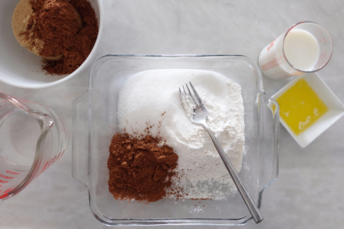 prepping hot fudge pudding cake ingredients
