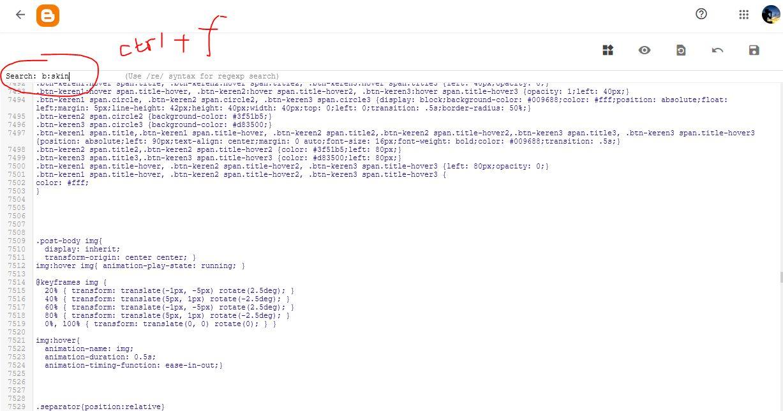 ctrl+f blogger edit html