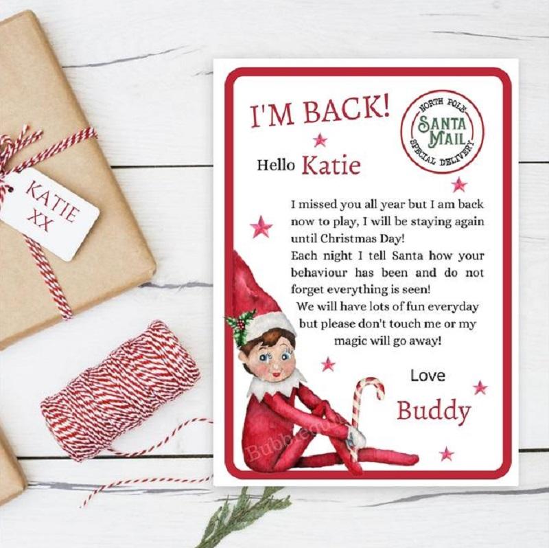 elf arrival I'm back letter