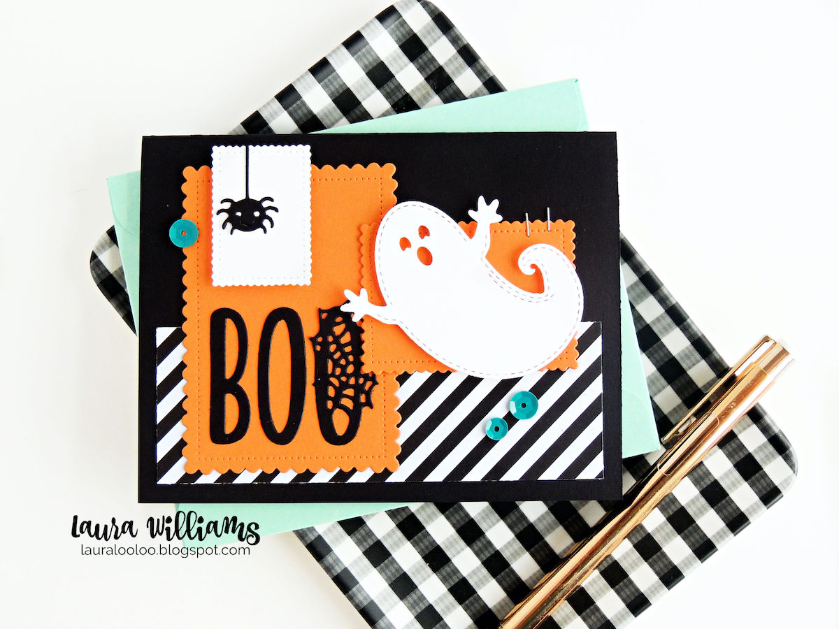 Make a fun Halloween card with a sweet die cut ghost and the word BOO, using a collage style of layered rectangles for this cute and spooky card base. Click for more ideas using the Cute Scalloped Rectangle die set from Impression Obsession.