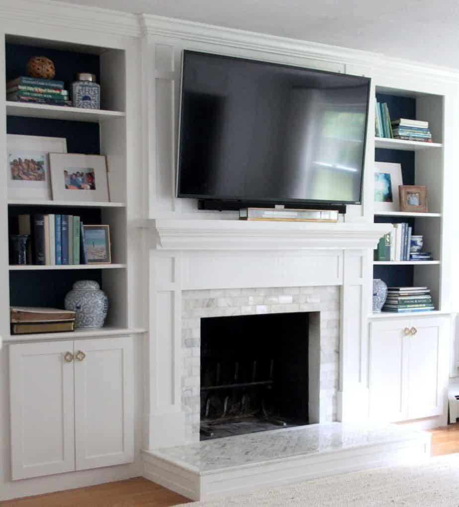 White fireplace redo marble tile