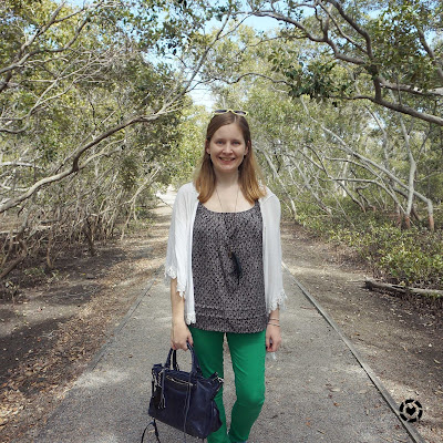awayfromtheblue Instagram | green skinny jeanas with crochet kimono printed cami navy bag in mangrove boardwalk