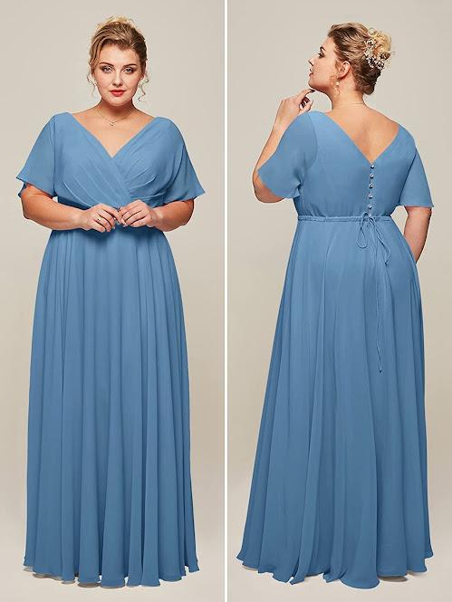 Plus Size Blue Chiffon Bridesmaid Dresses