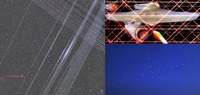 Vasemmalla: Zdenek Bardonin kuva, jossa näkyy Starlink-satelliittien jättämät ristikkäin kulkevat valot