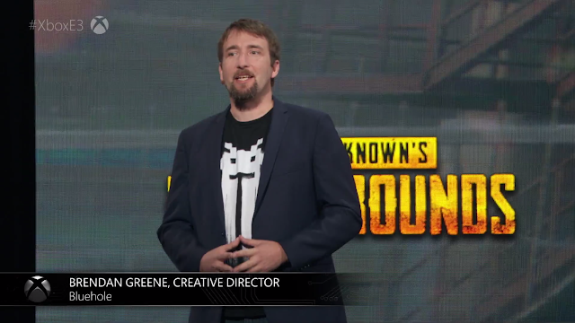 Brendan Greene Creative Director Bluehole PlayerUnknown's Battlegrounds Xbox Microsoft E3 2017 Space Invaders shirt