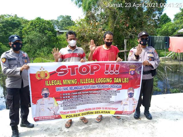 Cegah Kejahatan SDA, Personel Polsek Dusel Sampaikan Larangan Ilegal Mining