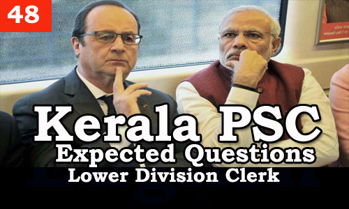 Kerala PSC - Expected/Model Questions for LD Clerk - 48