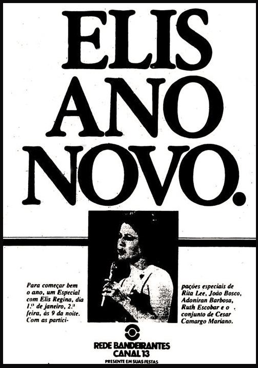 Propaganda antiga de um programa especial da cantora Elis Regina na Rede Bandeirantes, em 1978