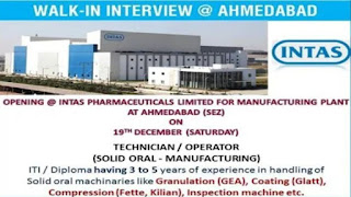 Intas Pharmaceuticals Limited For Manufacturing Plant  At Ahmedabad (Sez) Walk-in Interview ITI And Diploma Candidates