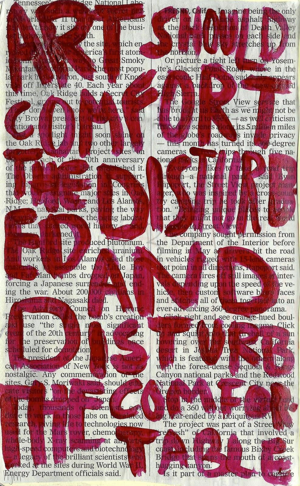 """""""L'art hauria de confortar als perturbats i perturbar els confortats"""". Cesar A. Cruz"""
