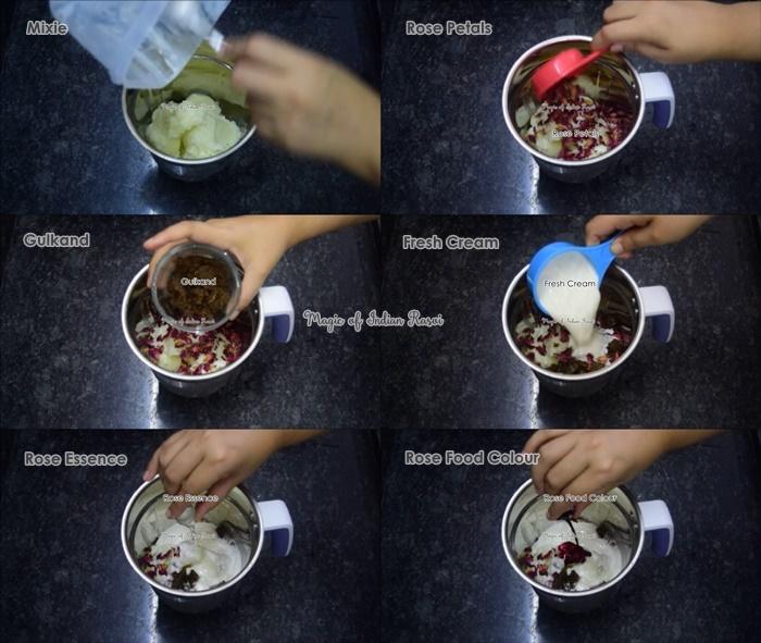 Rose Petal Ice Cream with GMS & CMC Powder Recipe - रोज पेटल आइसक्रीम जी.एम.एस. और सी.एम.सी. पाउडर का उपयोग करके रेसिपी - Priya R - Magic of Indian Rasoi